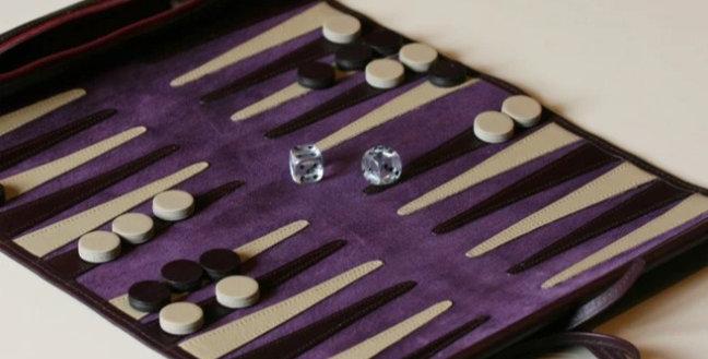 Pemberton & Milner Leather Travel Backgammon Set