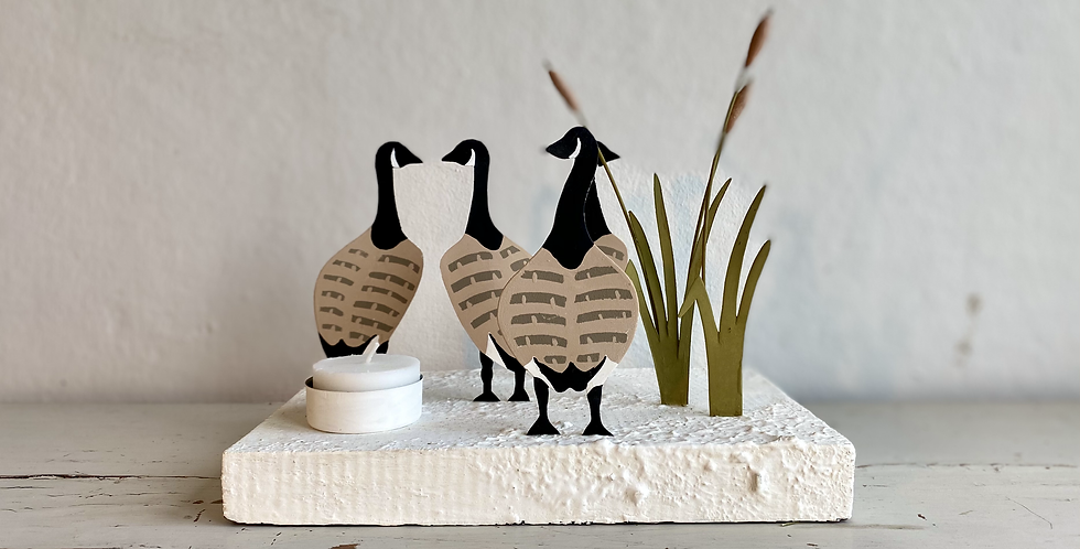 """Vintage style tin tea light holders """"Canada geese in the rushes"""""""