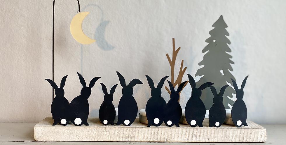 """Vintage style tin tea light holders """"moonstruck rabbits"""""""