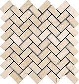 """1"""" x 2"""" Herringbone Crema Marfil Marble Mosaic"""