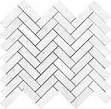 """Bianco Carrara 1"""" x 3"""" Herringbone"""