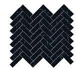 "1"" x 3"" Herringbone Nero Marquina Marble Mosaic"