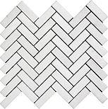 """Thassos White Herringbone 1"""" x 3"""" Marble Mosaic"""