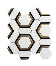 Nero Marquina Hexagon Metal Marble Mosaic