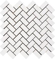 "1"" x 2"" Herringbone Bianco Dolomite Mosaic"
