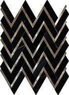 Nero Marquina Herringbone Marble Mosaic