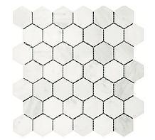 "Eastern White 2"" Hexagon Marble Mosaic"