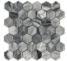 "Bardiglio 2"" Hexagon Marble Mosaic"