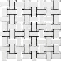 Basketweave Thassos White Marble Mosaic
