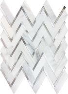 Eastern White Herringbone Marble Mosaic