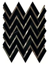 Herringbone with Metal Herringbone Marble Mosaic