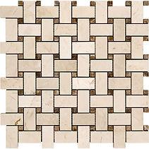 Basketweave Crema Marfil Marble Mosaic
