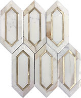 Calacatta Gold Slim Hexagon Marble Mosaic