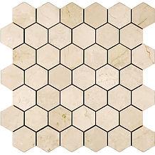 "2"" Hexagon Crema Marfil Marble Mosaic"