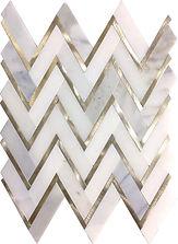 Calacatta Gold Herringbone Marble Mosaic
