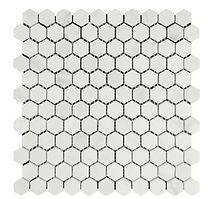 "Eastern White 1"" Hexagon Marble Mosaic"