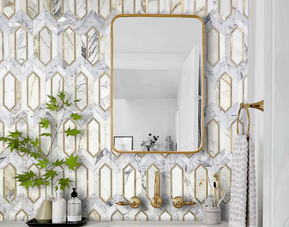 Slim Hex Mosaic Gold & Calacatta