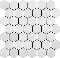 """2"""" hexagon thassos white marble Mosais"""