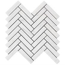 """Bianco Carrara 1"""" x 4"""" Herringbone"""