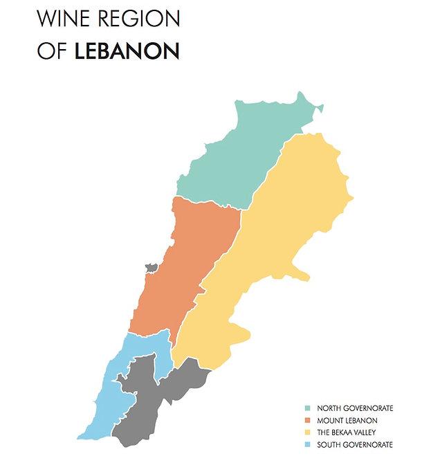 Lebanon wine map
