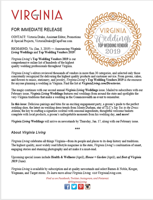 Top Wedding Vendors 2019 Press Release.P