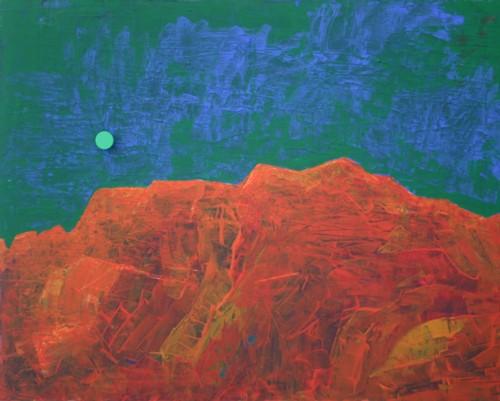 Felsenlandschaft mit rotem Mond, Acryl.j