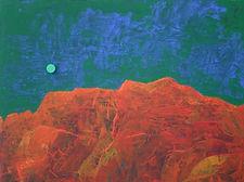 Felsenlandschaft mit rotem Mond (Malerei bis 2007)