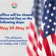 Memorial Day Weekend Closure