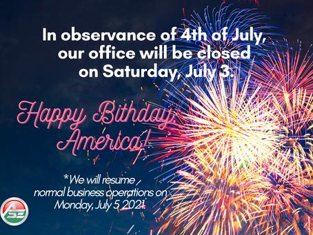 July 3-5 Closure