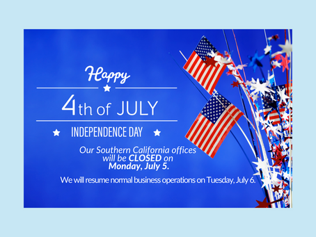 Southern California Offices Closed on July 5