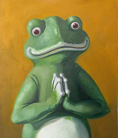 praying frog by dan davis 30cm x 40cm oi