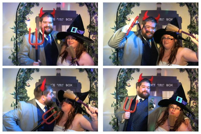 for photobooth photos of a married couple at their wedding on halloween