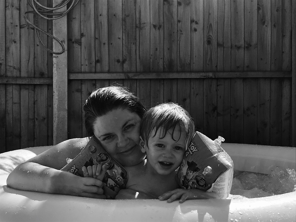 me and charlie in hottub
