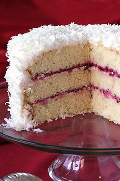 Coconut Cake with Raspberry Jam Filling
