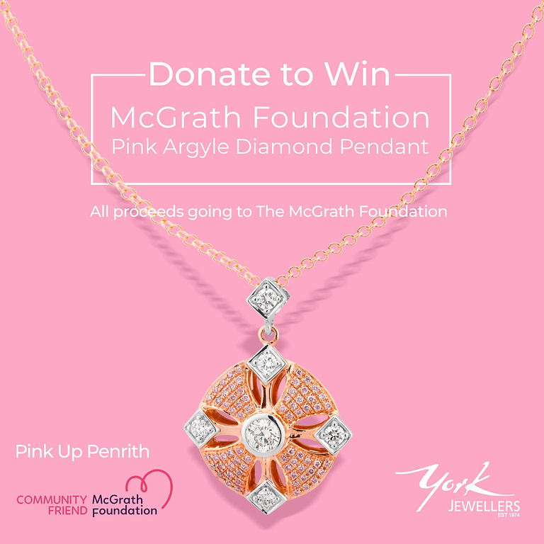 York Jewellers - donate to win a beautiful bespoke pink diamond  necklace designed and manufactured by Doug Ely
