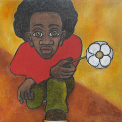 Man with Flower, Taking a Knee