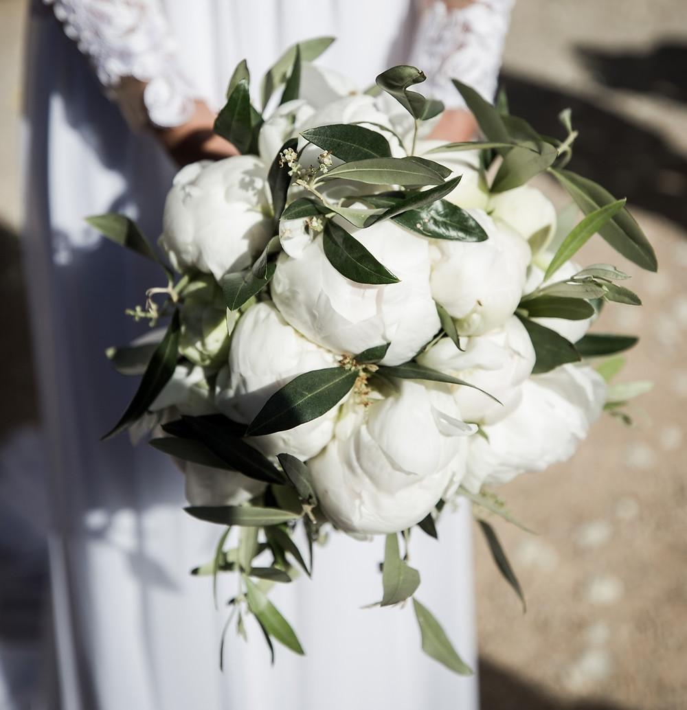 Peonie, bouquet, fiori, matrimonio, sposa, ulivo