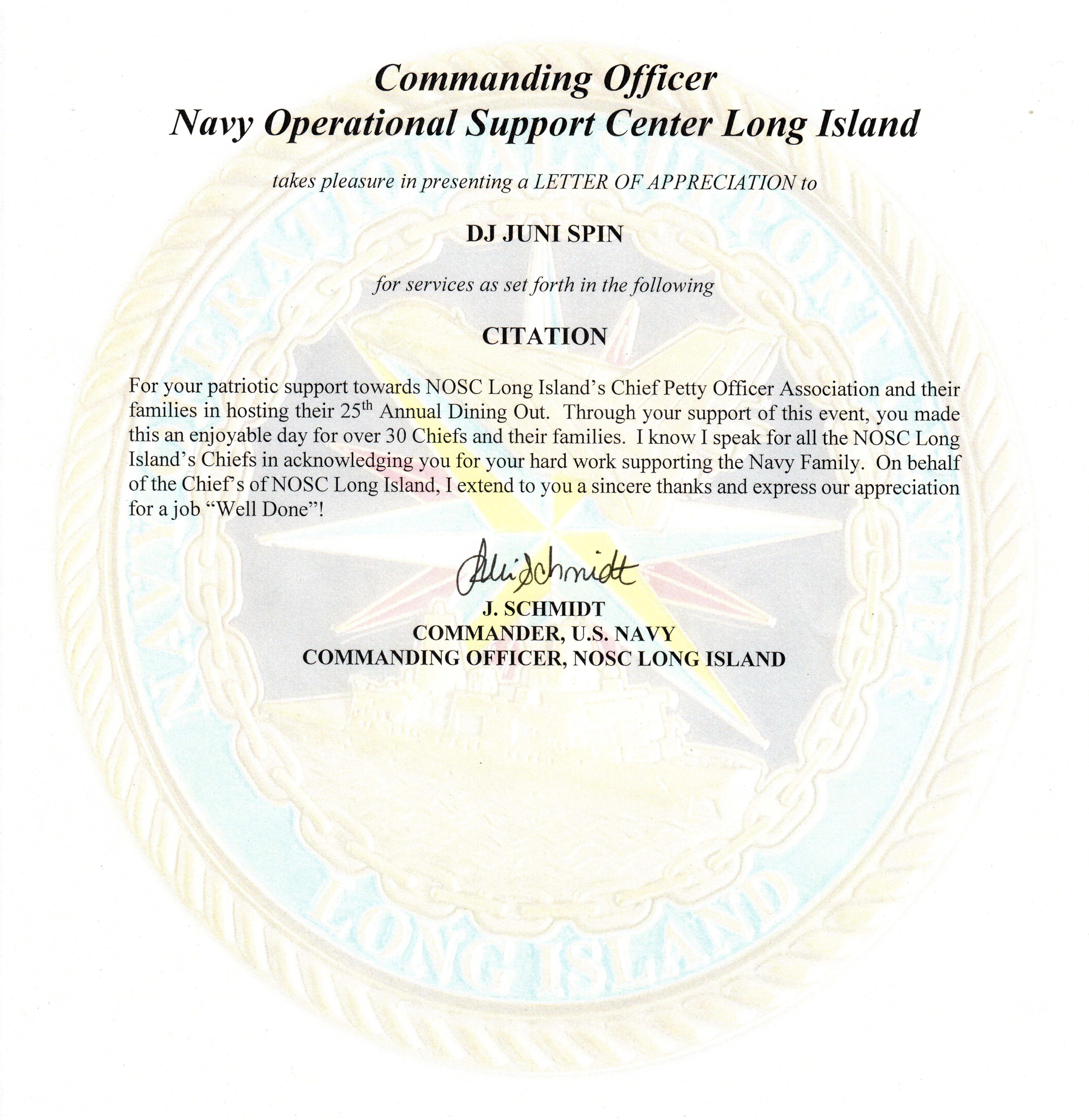 U.S. Navy Reference Letter