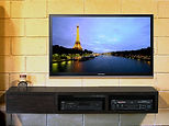 Lcd tv on wall; LED tv on wall; home theatre in cabinet underneath; Home Theatre Installation