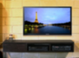 LED TV mounted on wall; Home theatre in cabinet; Home Theatre Installation