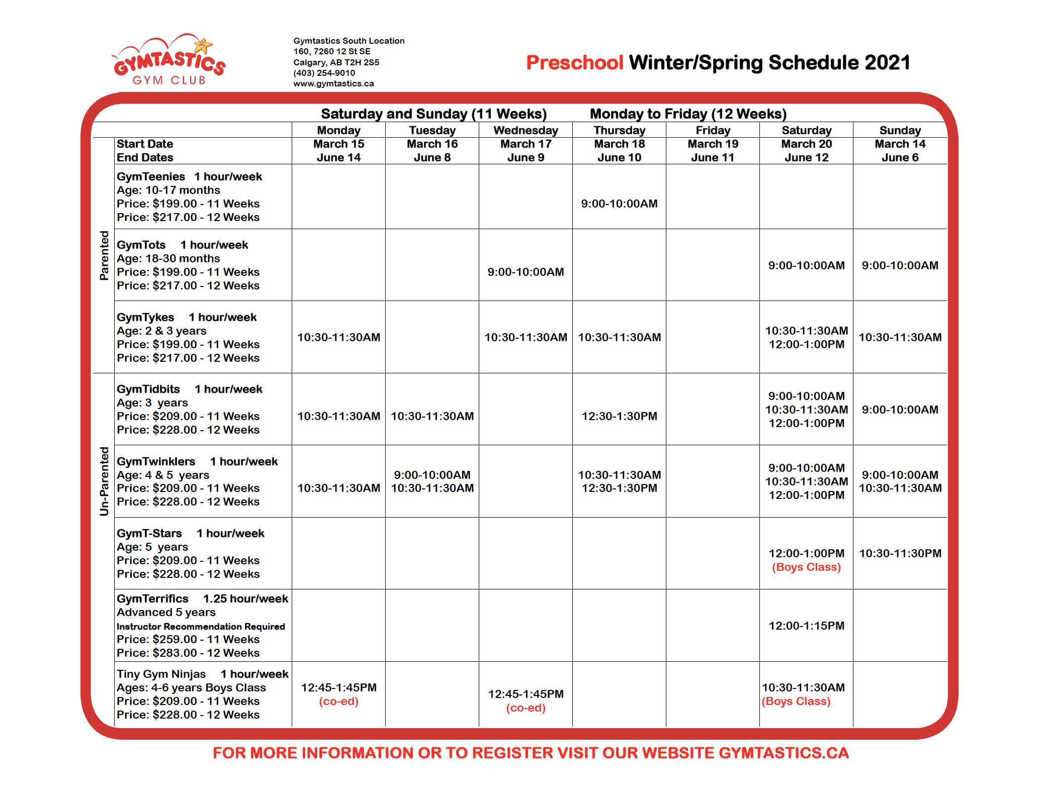 PreSchool Spring 2021