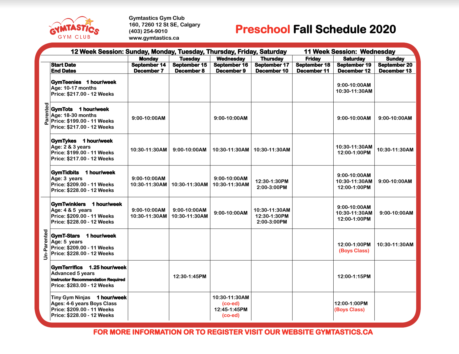 PreSchool Fall