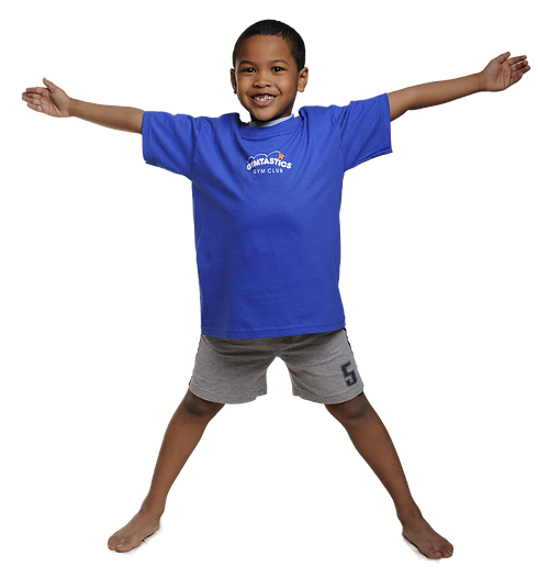 Young boy gymnast doing a star