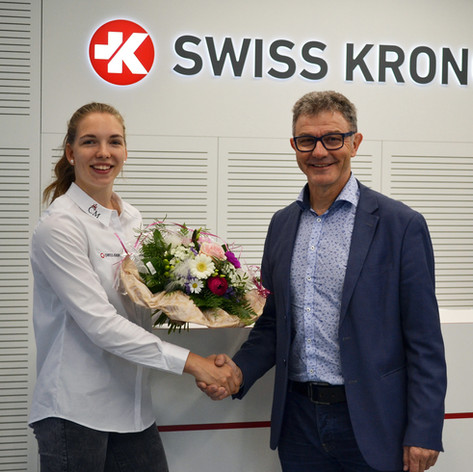 Géraldine Ruckstuhl and Sales Manager Theo Stuber - partnership with Swiss Krono AG