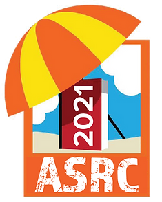 Adult Summer Reading Club logo, yellow and orange umbrella over red book