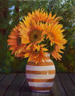 SOLD 'Sunflowers in Vase'.