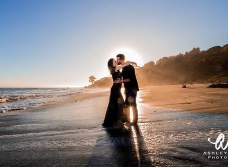Malibu Sunset Engagement Session With Kaua'i Wedding Photographer Ashley Valera.