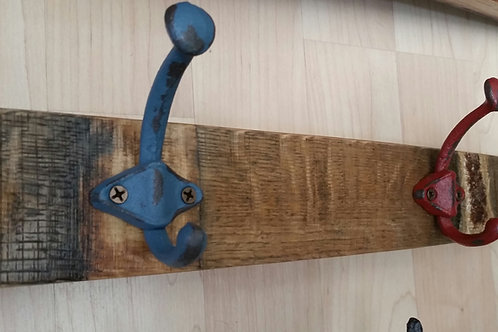 Wine Stave Red and Blue Hook Coat / Towel Rack