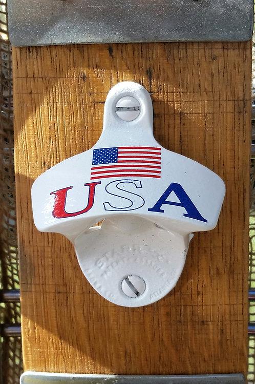 Wine barrel stave USA bottle opener