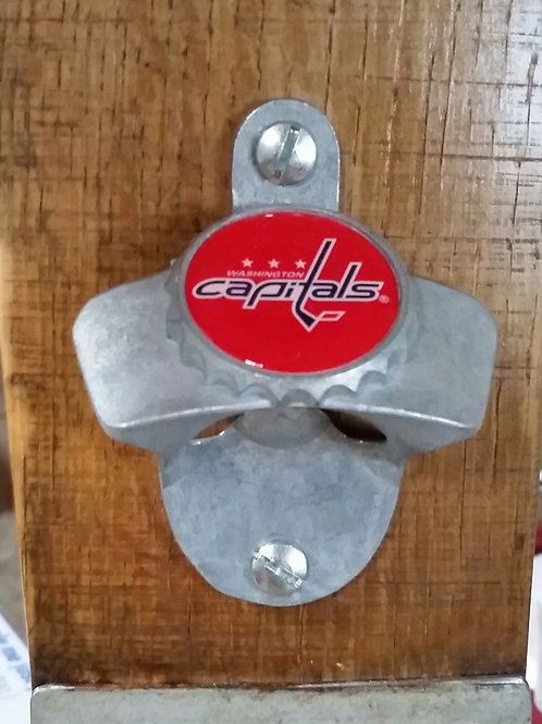 Washington Capitals Bottle Opener on Wine Barrel Stave